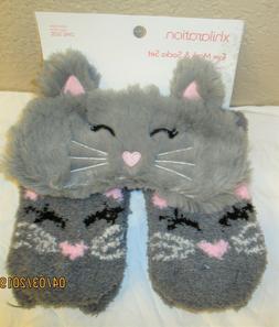 XHILARATION Eye Mask & Sock Set Cozy Soft Adorable! Cat Grey