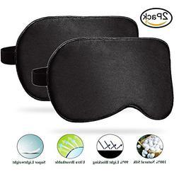 Eye Mask & Blindfold, 2-Pack 100% Pure Silk Sleep Mask for M