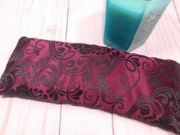 Eye Pillow Organic French Lavender Burgundy and Black Silky