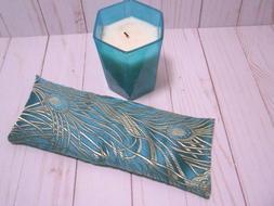 Eye Pillow Organic Lavender Flax Elegant Green Peacock Broca