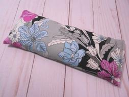 Eye Pillow Organic Lavender Flax Seed Gray Pink  Cotton Arom