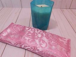Eye Pillow Organic Lavender Flax Silky Pink Brocade Aromathe