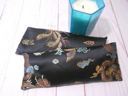 Eye Pillow Organic Lavender Silky Black Gold Brocade Aromath