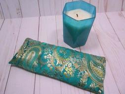 Eye Pillow Organic Lavender Silky Emerald Brocade Aromathera