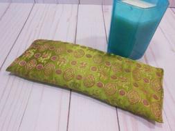 Eye Pillow Organic Lavender Silky Olive Brocade Aromatherapy