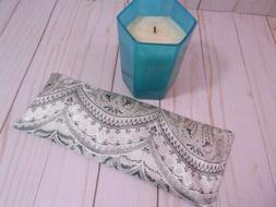 Eye Pillow Organic Lavender Silky Silver Beige Brocade Aroma