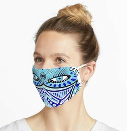 Eyes Digital Line Art Face Mask Made in USA Size adult teen