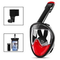 SkyGenius Full Face Snorkel Mask, 180° GoPro Compatible Pan