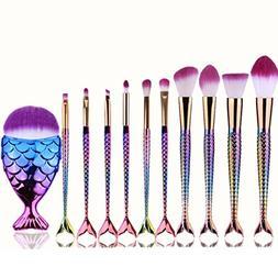 KaiCran Fashion 10Pcs Mermaid Beauty Cosmetic Makeup Brush T