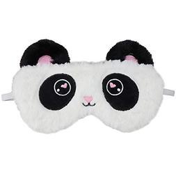 HXINFU Fluffy Panda Sleep Mask for Kids Panda Eye Mask for S