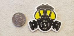 gas mask yellow eyes sticker decal