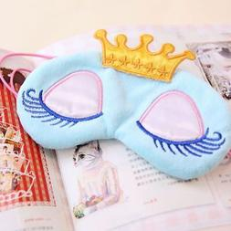 Girl Kids Eye Mask Cotton Velvet Long Eyelash Crown Sleeping