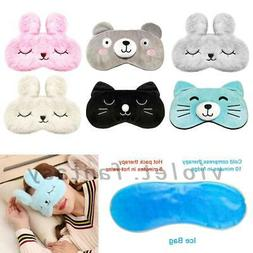 Girls Cartoon Animal Eye Mask Travel Beauty Sleep Cooling Ge