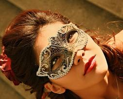 Women Gold Anonymous Black Laser Cut Venetian Masquerade Mas