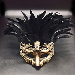 Gold Face with Black Feather Skull Masculine Greek & Roman S