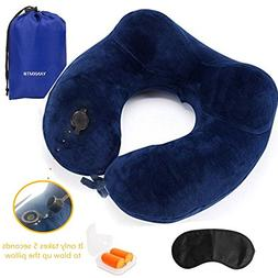YANXMT Inflatable Travel neck Pillow,Ergonomic Design U Shap