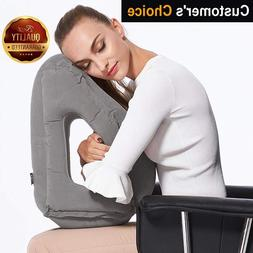 Inflatable Travel Pillow Sleep Aid – with Eye Mask, Earplu