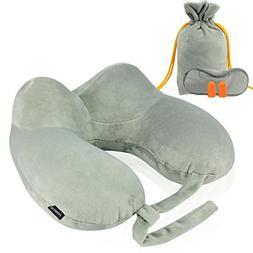 Maxchange Inflatable Travel Pillow, Portable Soft Velvet Pus