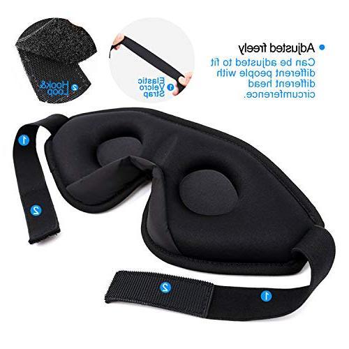 Snapsmile 3D Sleep Blindfold Eyeshade Eye for Men Premium with Set Earplug-Black
