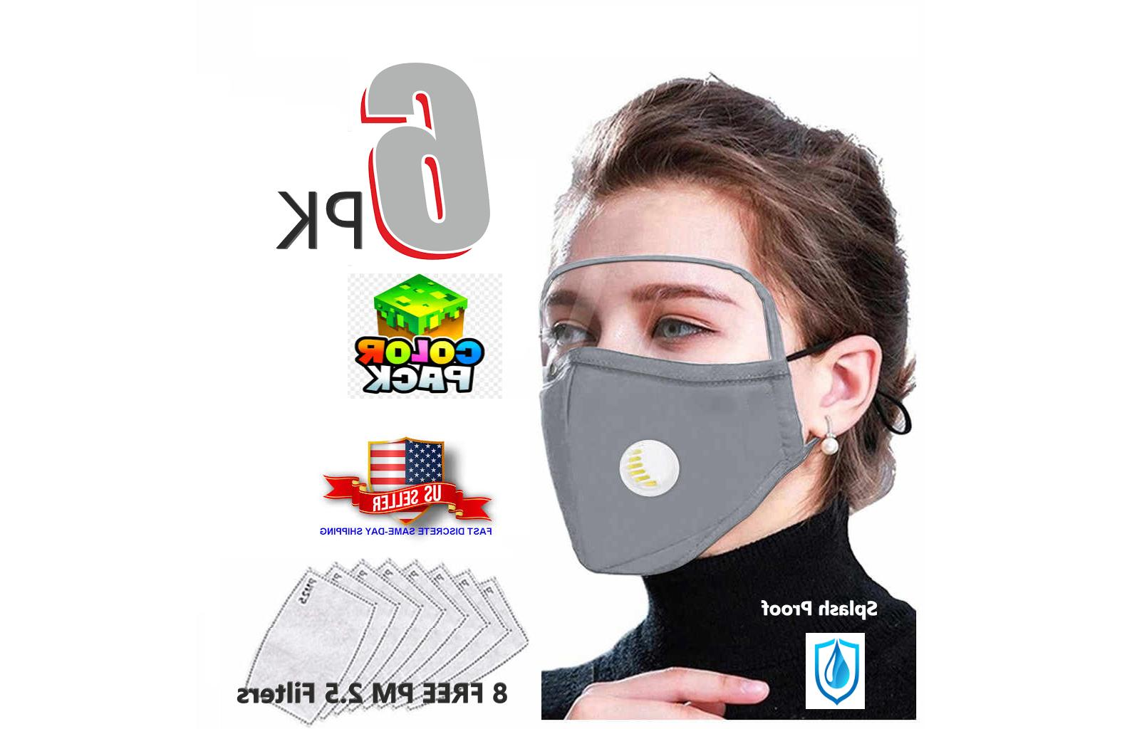 6 pack multi color filtered protective face