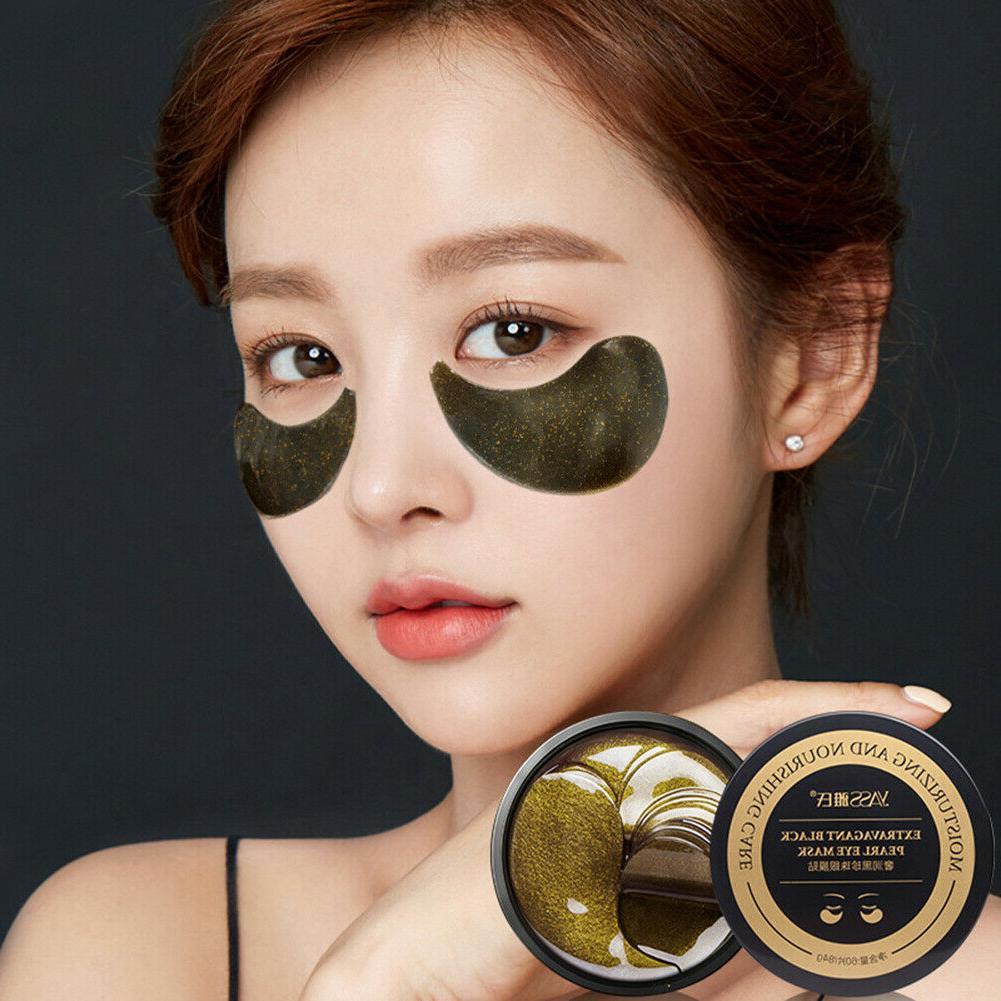 60pcs black pearl eye mask hydrogel eye