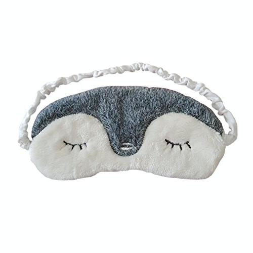 Ayygiftideas Cute Plush Penguin Wool Patch Eye Mask Eyeshade