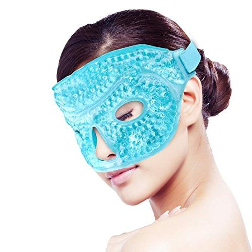 Ice Face/Eye Mask for Woman Man, Hot/Cold Reusable Gel Beads