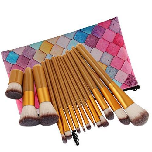 KaiCran 15Pc Makeup Brushes Set Powder Foundation Eyeshadow