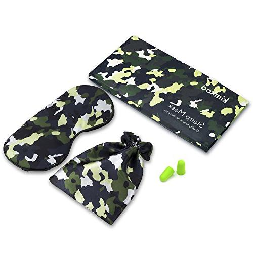 Kimkoo Silk Light with Straps - Eye Mask For Sleeping With Eye Patch,Camouflage