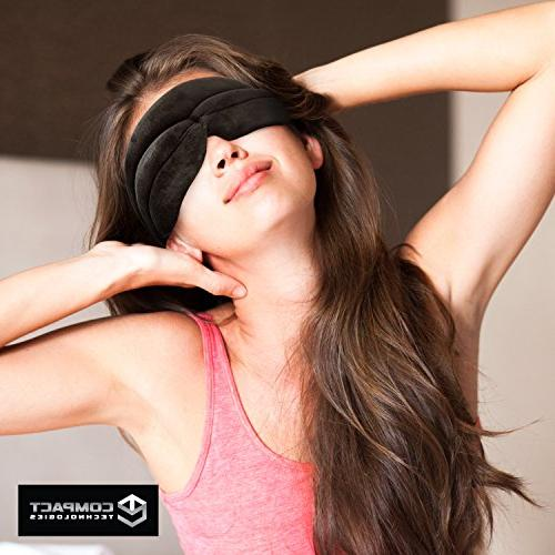 Padded Foam, Velvet Fit Contour Eye Pockets and Theraputic Sleeping - Luxury 3D Blackout Blinders Men Women by Compact