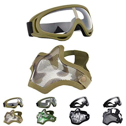 airsoft half face mask steel
