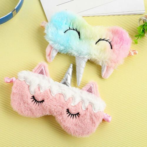 1-4Pcs Unicorn Eye Mask Sleep Masks Soft Plush Eye Shade Cov