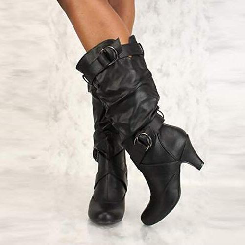 Women Over Boot High Heel Thigh Black
