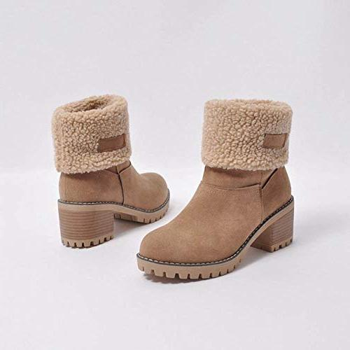SMALLE Clearance,Women's Winter Shoes Flock Warm Boots Snow Short Bootie