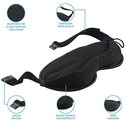 Lewis Clark Eye Aid to Block Light for Airplane, Airport, Insomnia Headache Relief with Adjustable Straps,