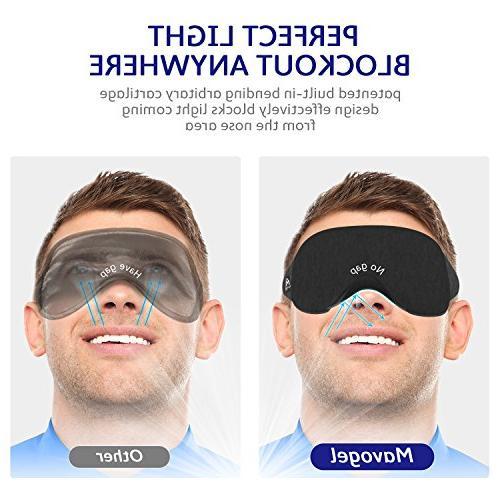 Cotton Sleep Eye Mask - Light Includes Travel Best Blinder Work/Meditation,Black