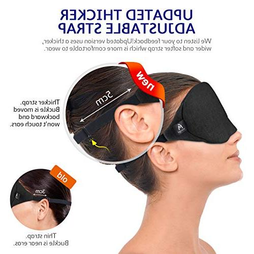 Cotton Eye Mask - 2019 Light Blocking Sleep Includes Travel Pouch, Soft, Comfortable, Blindfold, Best Work/Meditation,Black