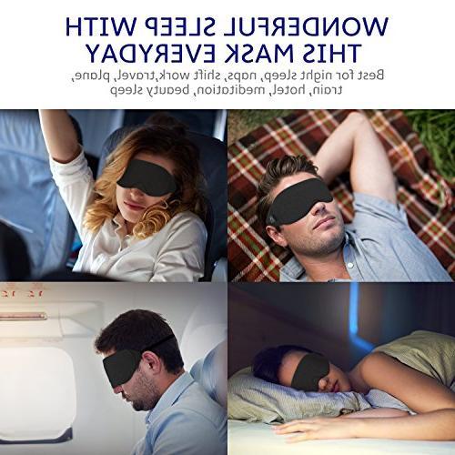 Cotton Sleep Eye - New Light Sleep Mask, Includes Pouch, Soft, Comfortable, 100% Best for Travel/Sleeping/Shift Work/Meditation,Black