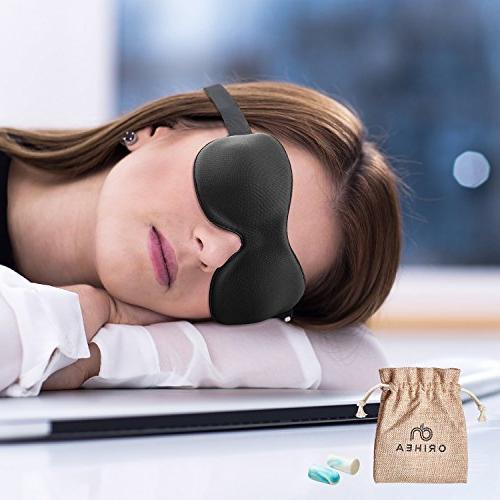 OriHea Eye Mask Men, Patented Design 100% Blackout Mask Eye Mask Blindfold, Black