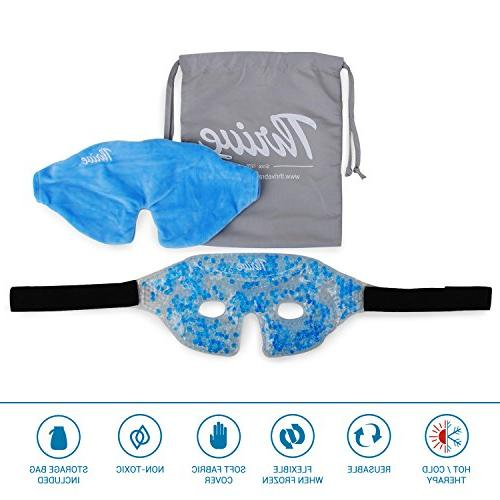 Eye Mask - Gel Beads Hot Compress Pack Fabric Cover gel both ice heat relief Great for migraines, headaches +