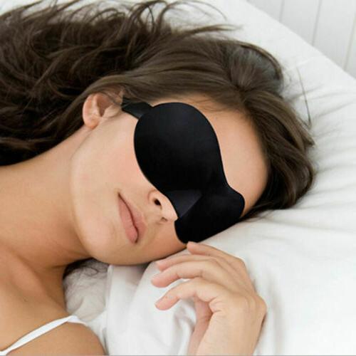 Eye Mask Sleep Travel Shade Blindfold Night Day Time Sleeping Black