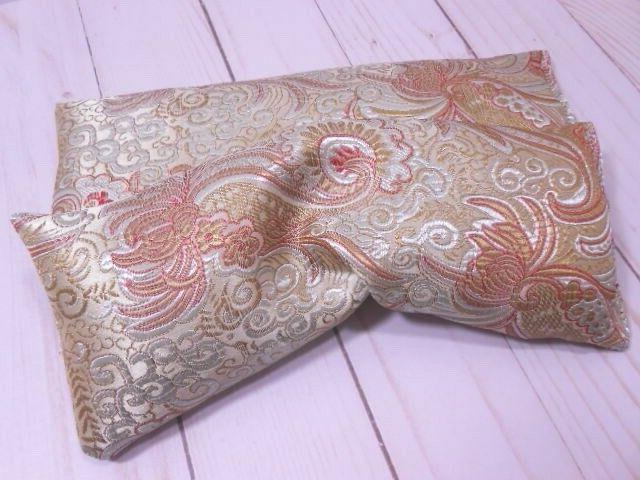 Eye Pillow Organic Lavender Flax Seed Silky Gold Brocade Aro