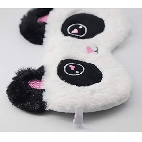 HXINFU Fluffy Sleep Mask for Kids Panda Eye Sleeping Mask