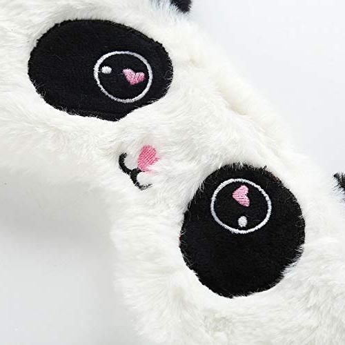 HXINFU Fluffy Panda Sleep Mask Kids Eye Mask for Mask