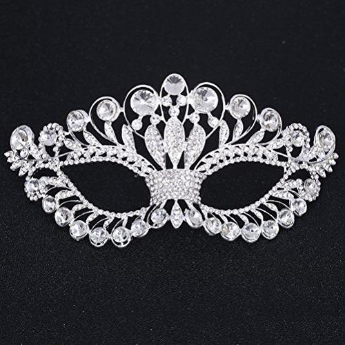 OULII Diamond Rhinestone Party Mask Women Lady