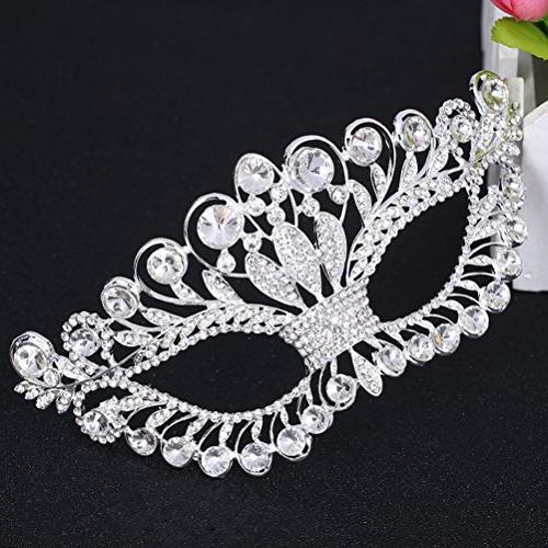 OULII Masquerade Luxury Diamond Rhinestone Party Crown Mask for Women