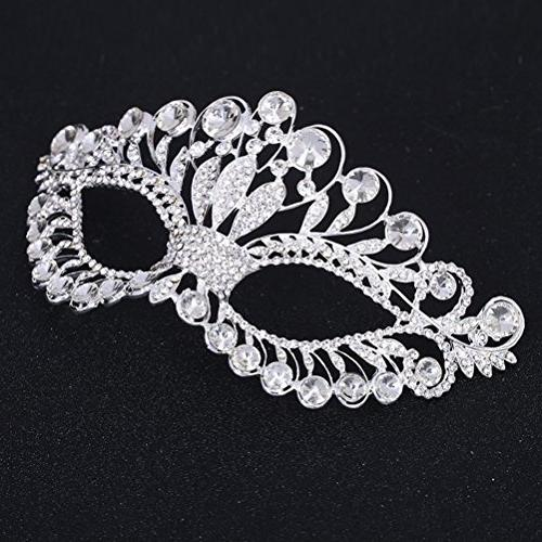 OULII Diamond Fancy Mask Party Crown Mask for Women
