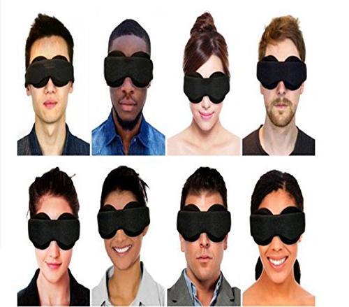 New Modular 3D Sleep Eye Mask for Locking Light 100%- Blindfold Airplane Blinder