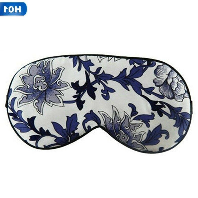 Pure Silk Floral Print Sleep Eye Eyemask Sleep Travel Shade Cover