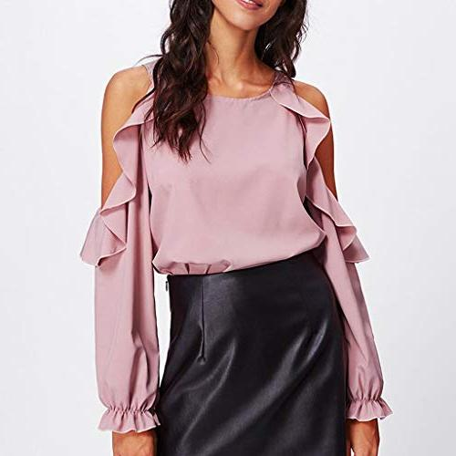 Ruffled Londony Womens Solid Shoulder Sleeved Top Shirt
